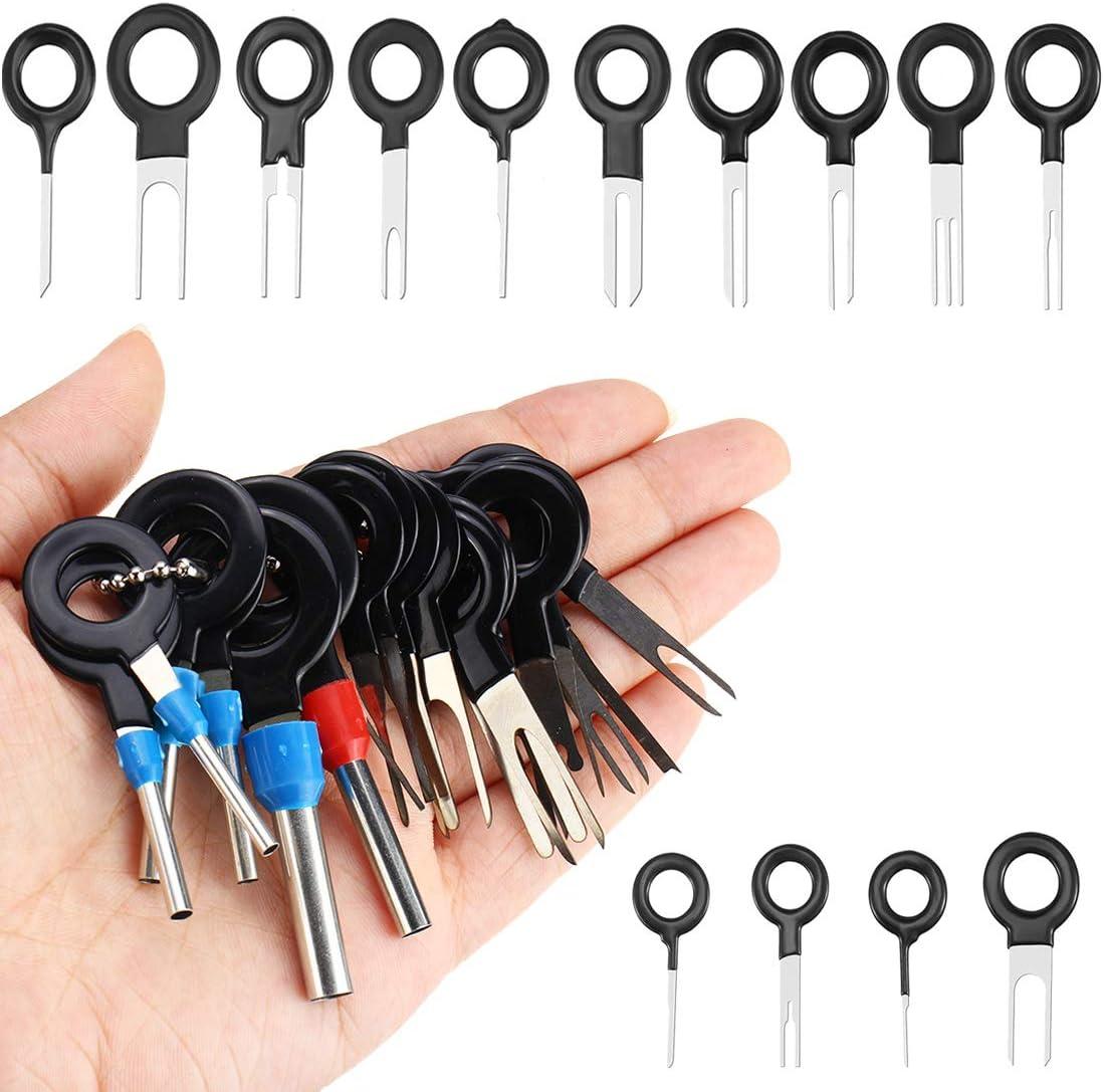 59 piezas de cables de coche con herramientas de desmontaje de terminal herramienta de desbloqueo para contactos planos y redondos