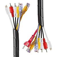 2 STKS Kabel Netjes Spiraalvormige Wrap 12 Meter Zwarte Kabel Netjes Mouwen voor TV PC Thuiskantoor Workshop Zwart