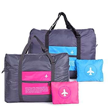 AB SALES Multicolour Nylon Waterproof Foldable Portable Luggage Bag - Pack of 2