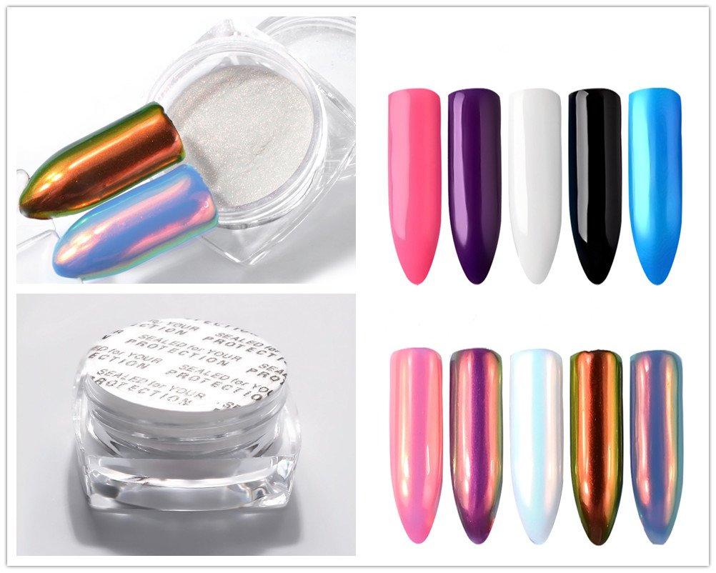 PhantomSky Uñas Arte Brillo de Neón Magia Brillante Espejo Cromo Clavo Polvo Manicura Pigmento Nail Art Glitter DIY Uñas Consejos Decoración
