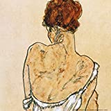 Posters: Egon Schiele Poster Art Print - Seated Woman In Underwear, Rear View, 1917 (16 x 16 inches)