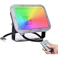 20W Foco RGB Exterior con Control Remoto & Función de Memoria, LED Luces De Inundación 16 Colores 4 Modos, IP67…