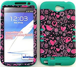 good case Protector case cover Baby Teal Silicone+ Tiny Hearts Faceplate Hybrid Cover with Kickstand for Samsung BQLAt6owIDn Galaxy Note 2nd Generation Note 2 N7100 At&t/tmobile