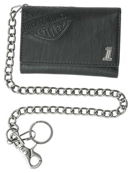 Harley-Davidson Bar & Shield, con Grabado de Hombre Trifold – Cartera, Negro