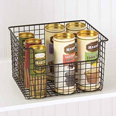 mDesign Metal Kitchen Pantry Food Storage Basket Bin 2 Pack Dark Gray Small