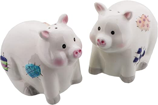 Amazon Com Animal Salt And Pepper Shaker Set Patchwork Pigs Kitchen Dining