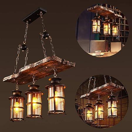 Lampe à Suspension Vintage Suspension Industrielle Métal Noir Et Verre en Bois Rustique Lustres Réglable en Hauteur Pour E27 Convient Pour Une Chambre