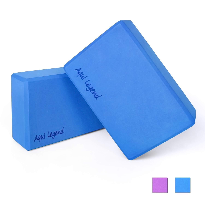 Aqui Legend Yoga Blocks 2-Pack, High Density Latex-Free EVA Foam Blocks for Yoga/Pilates/Meditation, Non-Slip Surface for Improve Stretching and Aid ...