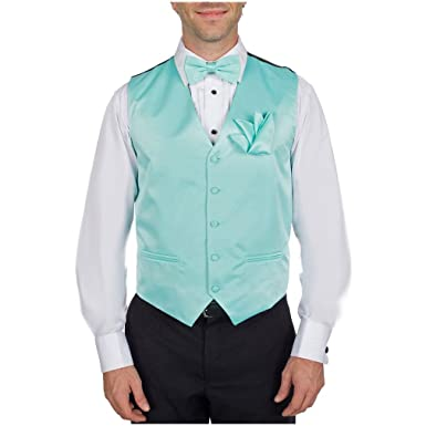 Aqua - Turquoise Tuxedo Vest with Pre-Tied Bow Tie and Pocket Square ...
