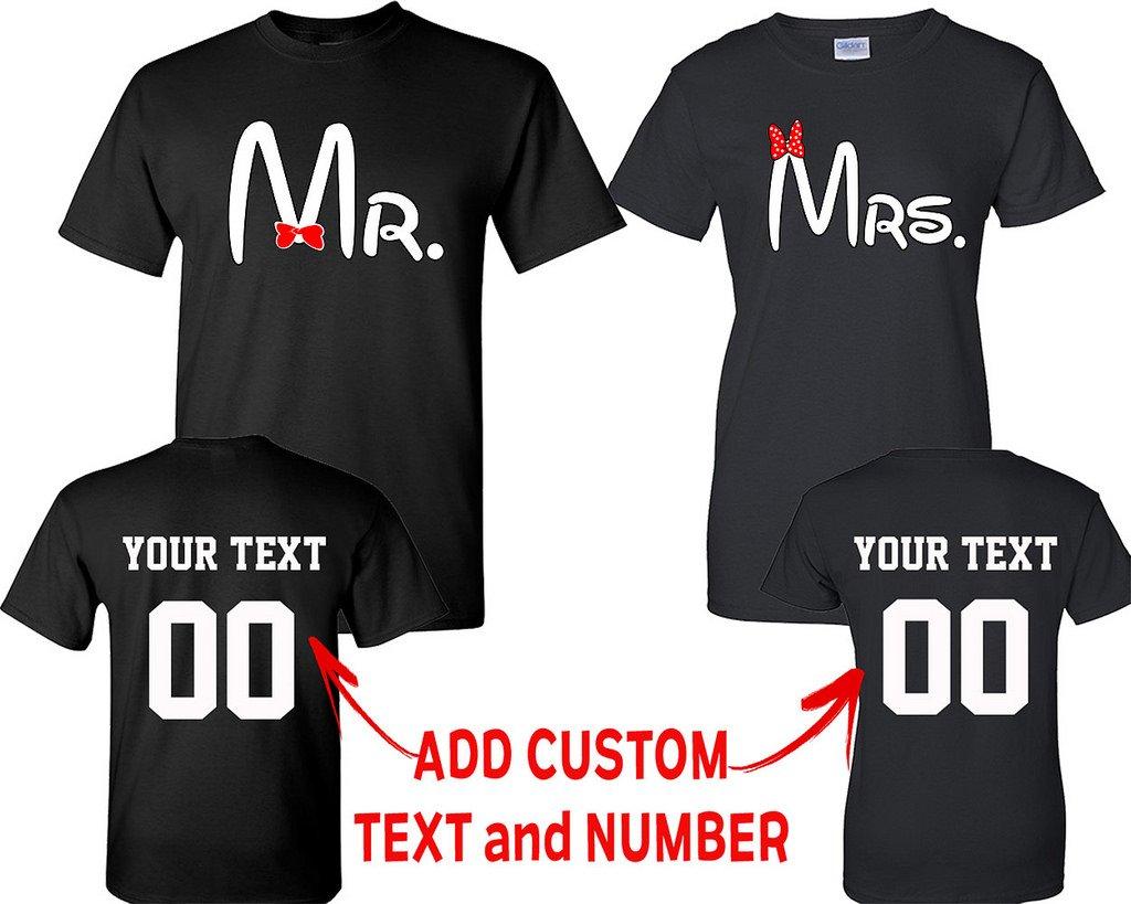 CRAZYDAISYWORLD Old Mr and Mrs Pattern Customized Text Name Design Couple T Shirt Size Men XXL Women XL
