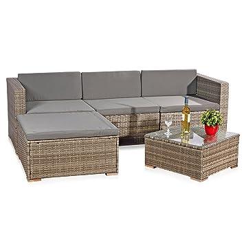 Amazon.de: 5tlg. Garten Ecksofa Lounge mit Tisch + Polster ...