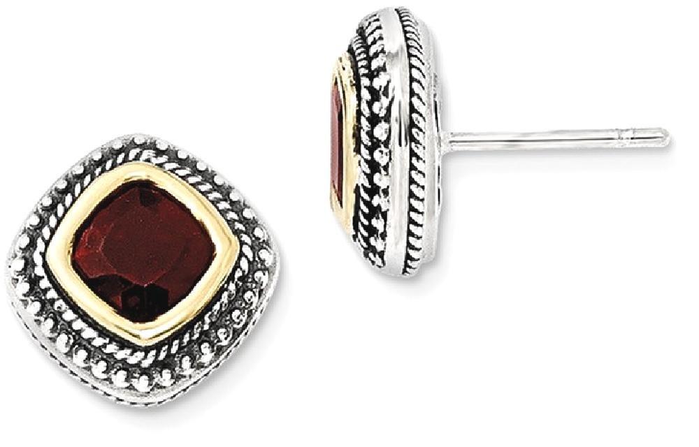 ICE CARATS 925 Sterling Silver 14k Red Garnet Post Stud Ball Button Earrings Fine Jewelry Gift Set For Women Heart