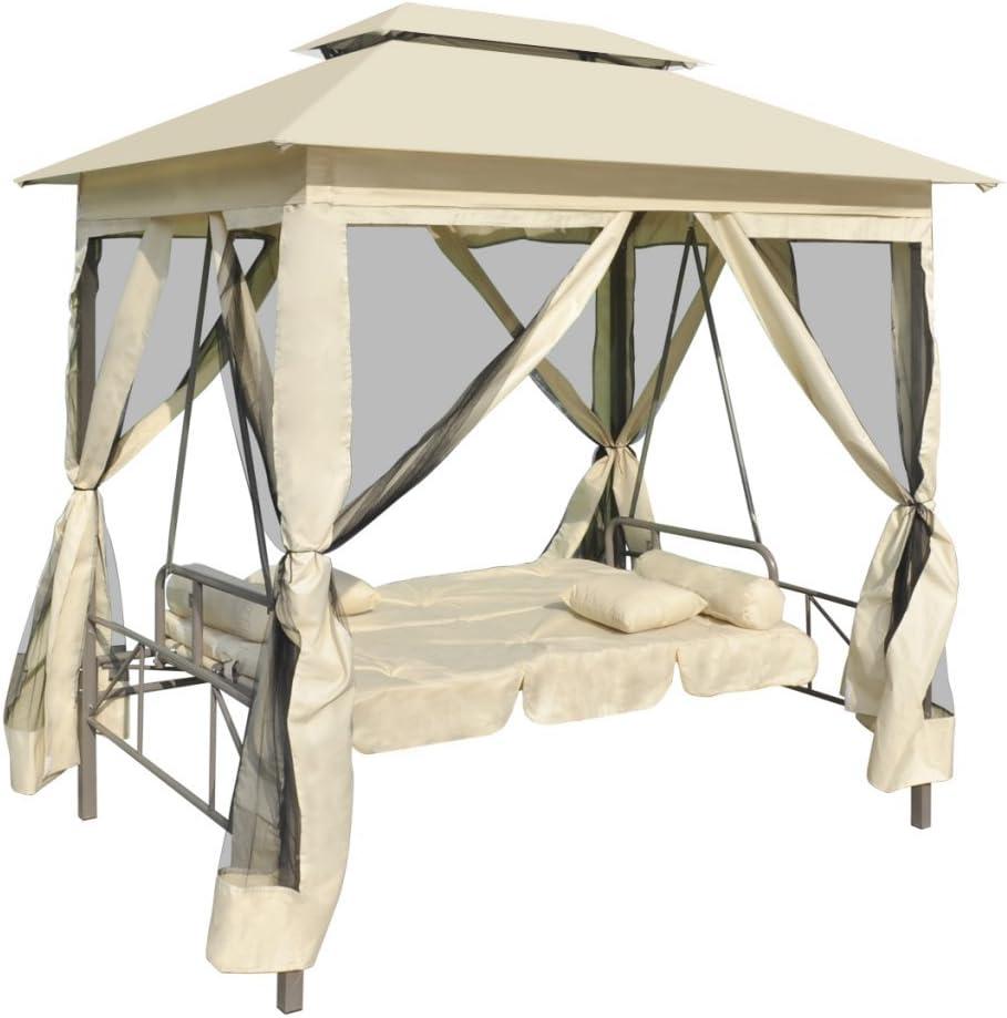 Hollywoodschaukel Gartenschaukel Schaukelbank 2-Sitzer mit Sonnendach 232 x 125 x 170 cm Kaffeebraun Festnight