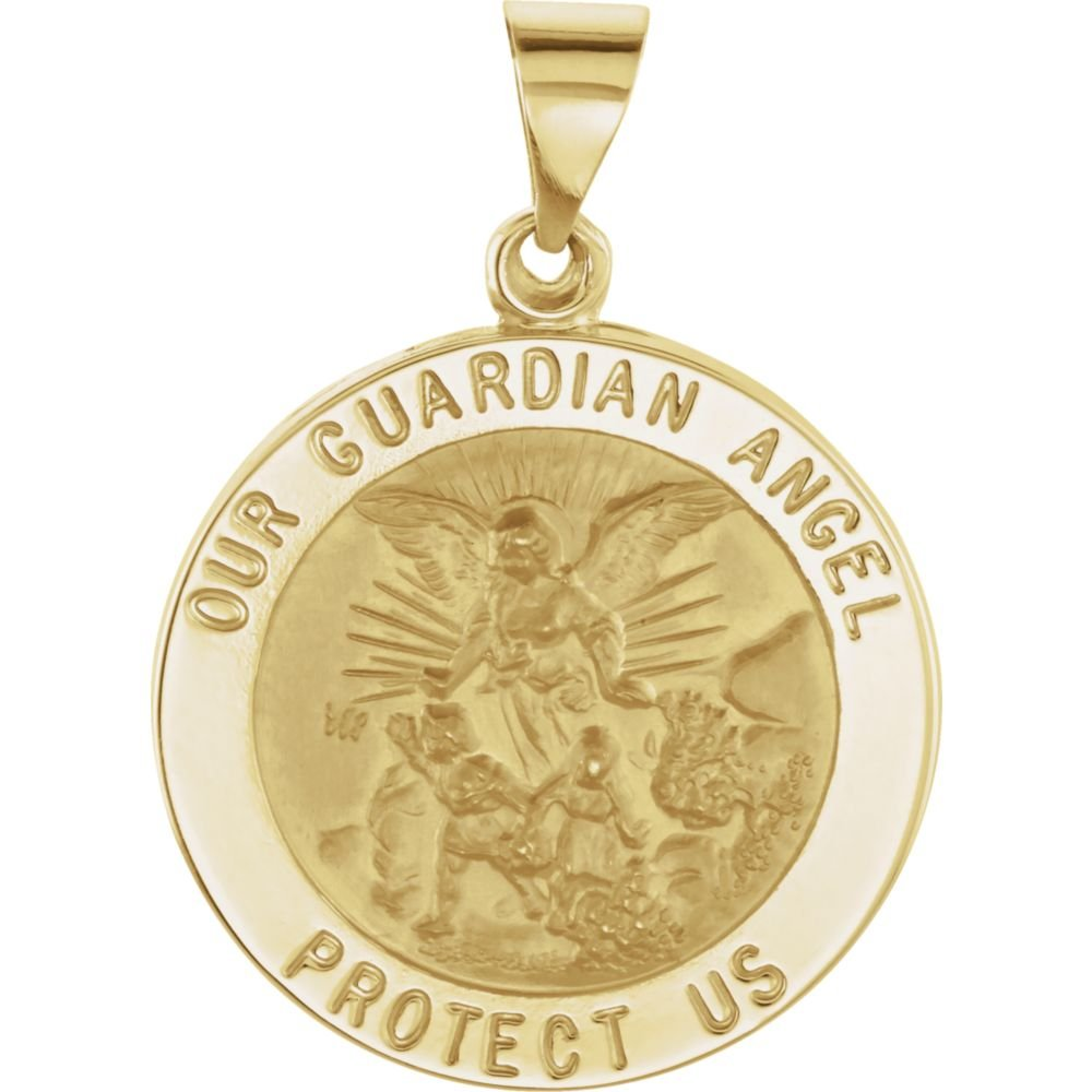14K Yellow Gold 21.75mm Round Hollow Guardian Angel Medal