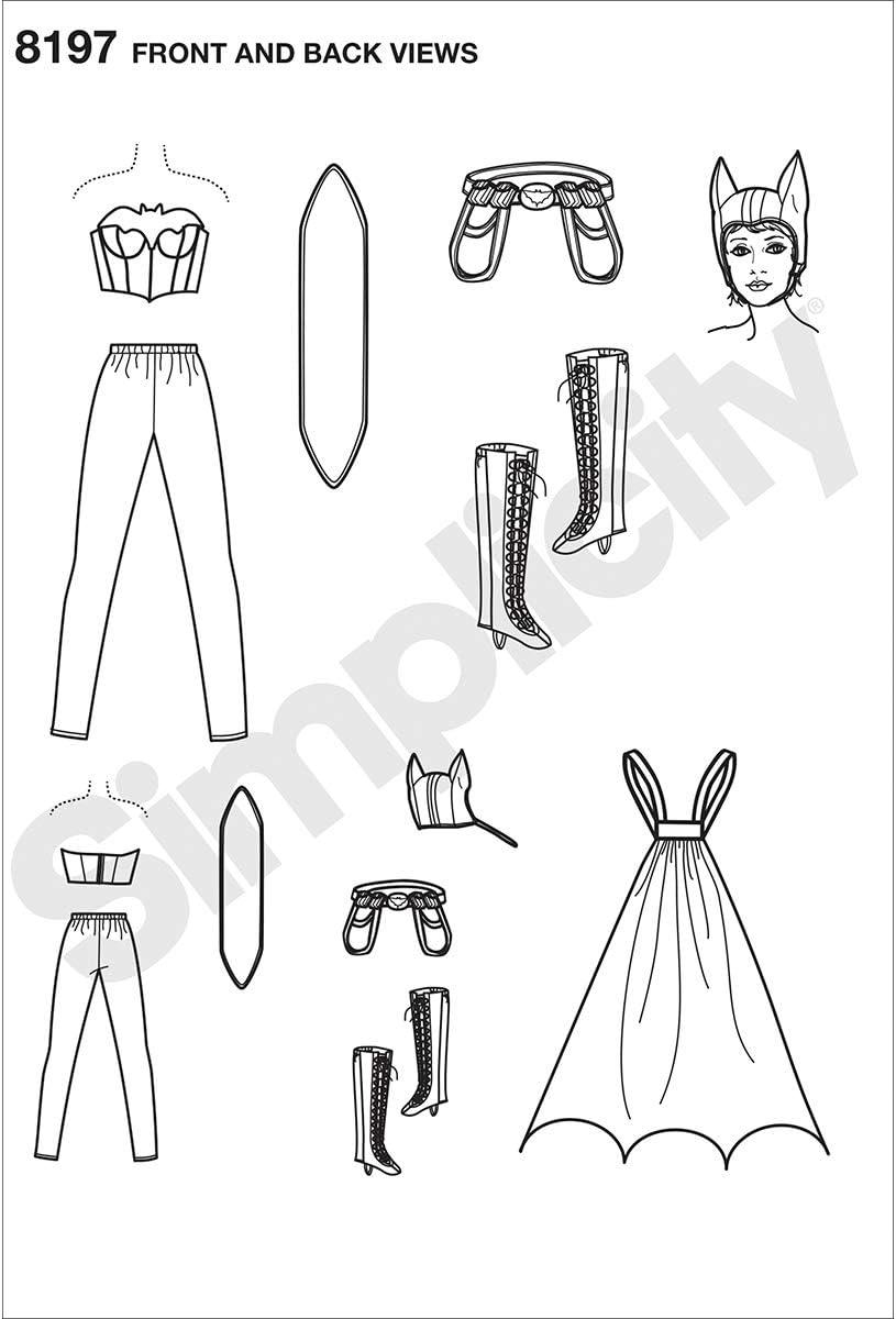 22,2/x 15,2/x 1,2/cm 14//–/16//–/18//–/20//–/22 equip/é Comics Bombshells d/éguisement de Chauve-Souris Papier Blanc Simplicity Pattern 8197/R5/