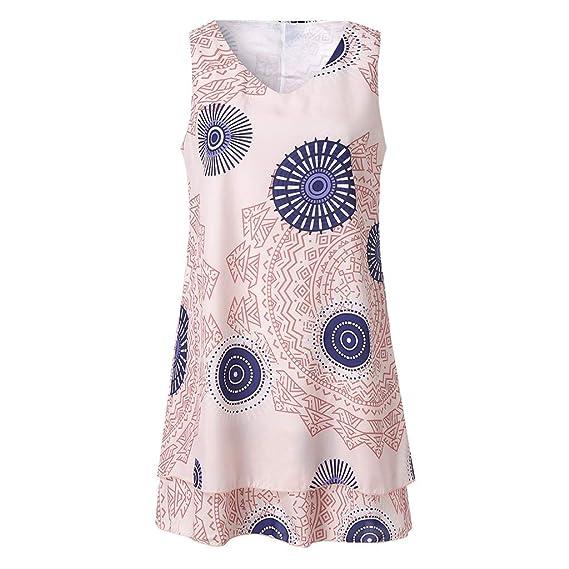 Dress for Women,Plus Size Boho Print Mini Dress Loose Shift Sleeveless Tank Vest Sundress Cocktail Evening Party Dress