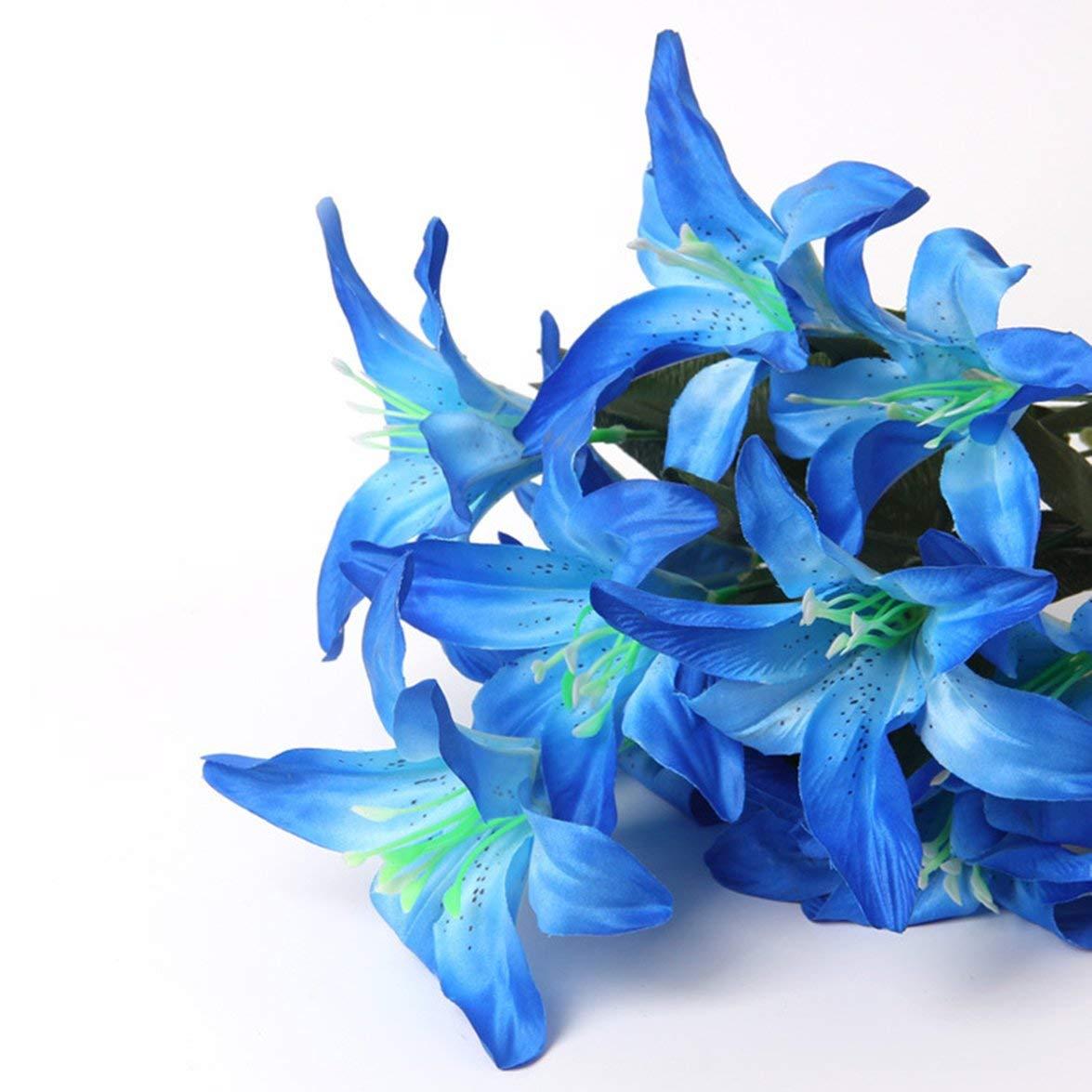 MqbY ヨーロピアン人工シルクフラワーヘッド イミテーションユリの花 DIYクラフト 造花 結婚式 ホームパーティー装飾 ブルー MqbY B07RCX4W24 ブルー