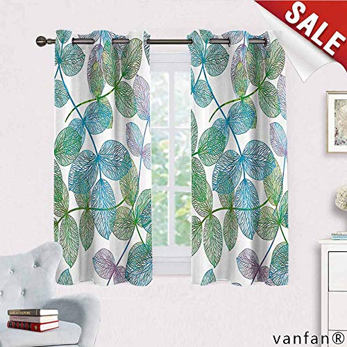 Big datastore Floral Curtains Hippie,Flowers Leaves Ivy Vein Like Rainbow Ombre Colored Art Print for Living Room Dining Room,Light Blue Fern Green Purple White W55 x L45 ()