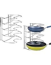 mDesign Juego de 2 organizadores de sartenes – Elegantes accesorios para muebles de cocina – Estanterías