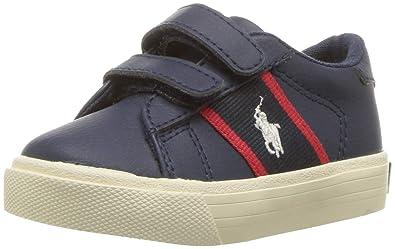b4b091cf1a0a1 Polo Ralph Lauren Kids Boys' Geoff EZ Sneaker, Tumbled Navy/Red w/