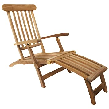 Charles Bentley Garden Solid Wooden Teak Steamer Chair/Sun Lounger