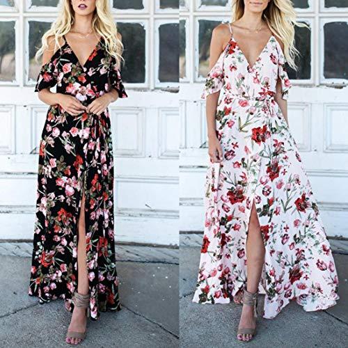 Shoulder Dress Print White Long Short Boho Cold Women Flower UOFOCO Size Sleeve 2 Plus Casual Party Dress TqxcFw65P