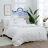 """Hotel Quality 800 Thread Count Egyptian Cotton 1-Piece Duvet Cover, Hypoallergenic, Zipper Closer Oversized Super King Size (120"""" x 98"""") with Corner Ties (White Solid)"""