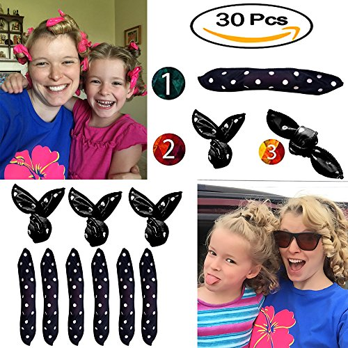Hair Curlers, Sleep Curlers SXG 30 PCS No Heat Foam Rollers for Long Short Hair, Pillow Hair Rollers Curlers for Women&Girls- Black by SXG