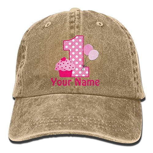 SKXJ0IOAI 1st Birthday Cupcake Pink Personalized Hat Snap Back Hip Hop Cap Baseball Head Wear Cotton Trucker Hats Natural