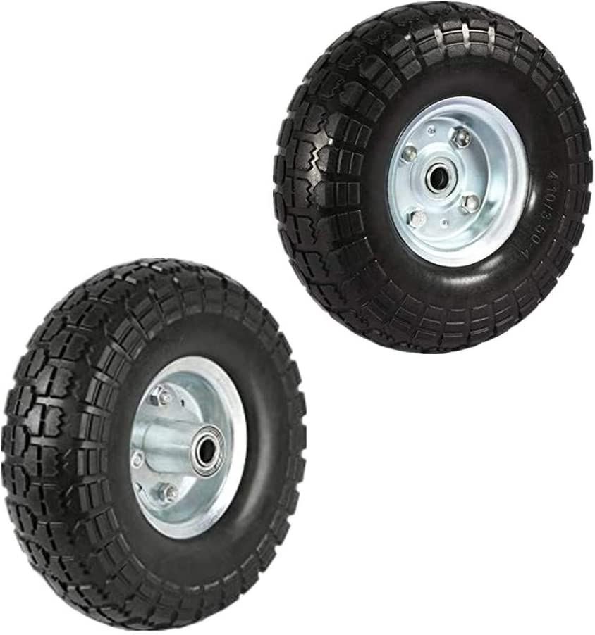 Linksworld Puncture Proof Solid Rubber Tyre Wheels Garden Wagon Cart Trolley Tires Wheels Solid Wheelbarrow Tires Sack Truck Cart Wheel 5/8-inch Bearings for Lawn/Garden/Beach/Trolley/Wagon 2 Pack