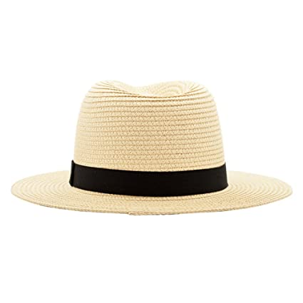 499bc0ff47d Amazon.com   ALWLj Wide Brim Summer Fedora Jazz Cap Beige Panama Hats For Men  Straw Sun Hats Women Beach Caps Couple Sun Visor Hats   Sports   Outdoors