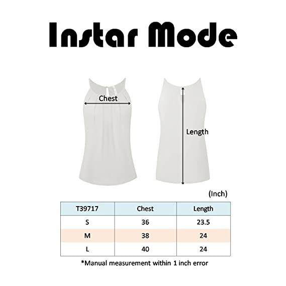 60a0f345b0e8a0 Instar Mode Women s Scoop Neck Pleated Front Chiffon Layered Cami Tank Top  (S-3X) at Amazon Women s Clothing store