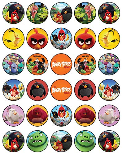 30 x Edible Cupcake Toppers - Angry Birds Themed Collection of Edible Cake Decorations | Uncut Edible Prints on Wafer Sheet