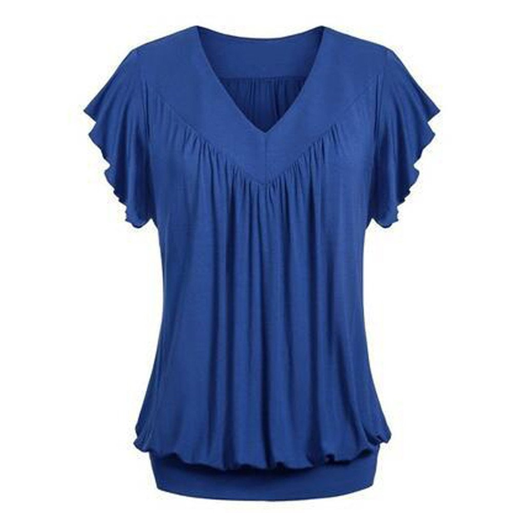 Hypothesis_X Womens V Neck Short Ruffled Sleeves Banded Bottom T Shirts Loose Tops Army Blue by ✔ Hypothesis_X ☎ Top