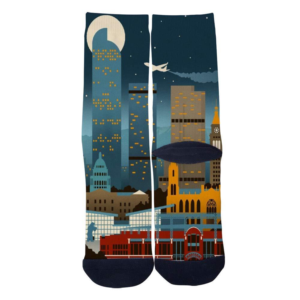 City Building Retro Poster Denver Colorado Socks Mens Womens Casual Socks Custom Creative Crew Socks