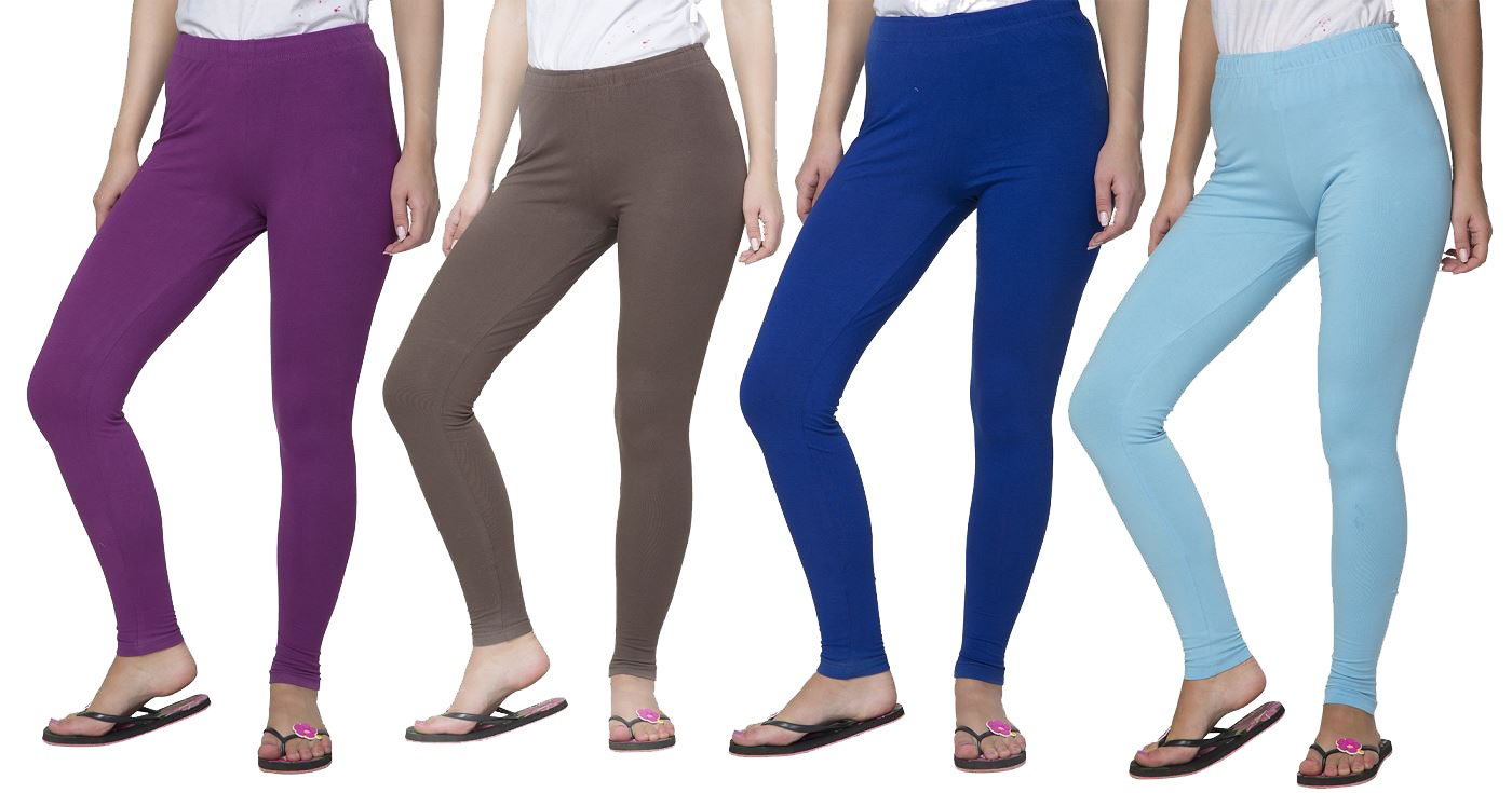 Clifton Women's Cotton Spandex Fine Jersey Leggings Pack Of 4-Assorted-10-M