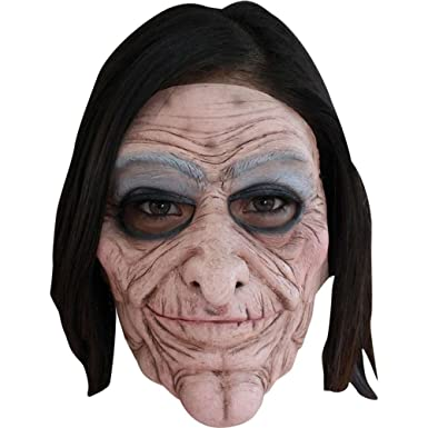 Old Lady Face Mask 2 Pieces Give Mask Movement Scary Halloween
