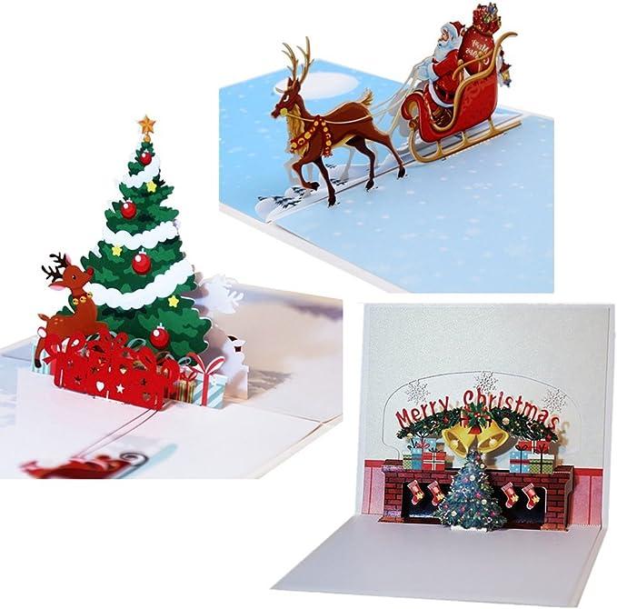 Pop Up 3D Weihnachten Karte PopShot Geschenk Santas Express 13x13 cm
