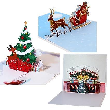 Tarjetas de Navidad 3D, tarjeta de felicitación de vacaciones, regalo para Navidad, Año Nuevo, Día de San Valentín, cumpleaños, aniversario, Día de la ...