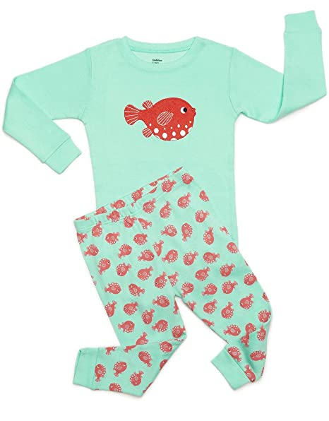 92bb8bad7b Amazon.com  DinoDee Kids Girls Pajamas 2 Piece Pjs Set 100% Cotton (2  Toddler-10 Years) Variety of Prints  Clothing