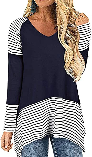 OPAKY Camisa Mujer Raya Manga Larga Casual Suelto Blusa Top Jersey Stripe Shirt Otoño Verano Playa