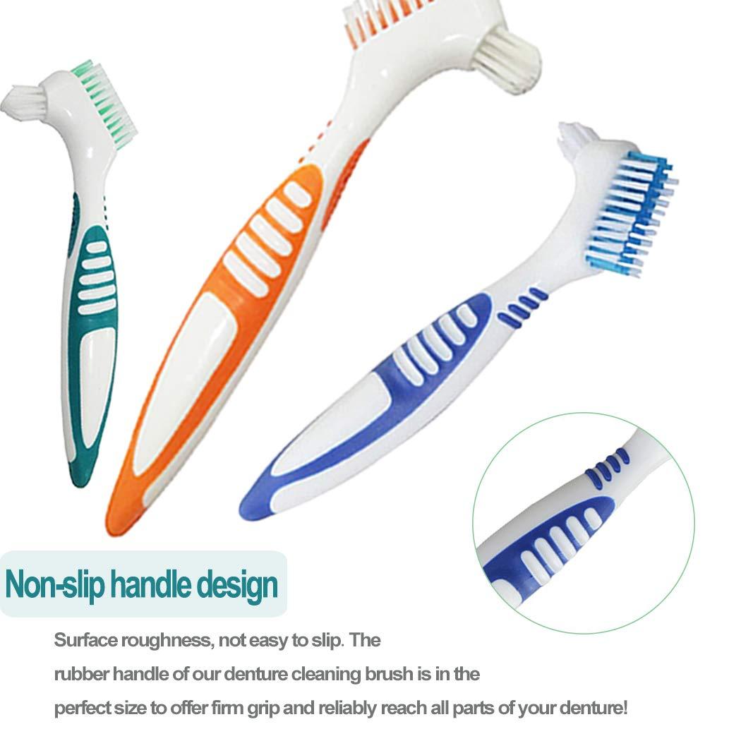 Hatisan-Pro 8Pcs Cepillos para Dentadura, Cepillo para Prótesis para Limpieza de Dientes Falsos Cepillo de Dientes Doble Herramienta para Limpieza de ...