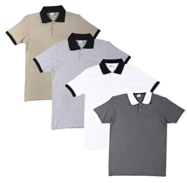 d2d3f900270 FLEXIMAA Men s Cotton Polo Collar T-Shirts with Pocket Opposite Color Collar    Cuff (Pack of 4) - Grey Milange
