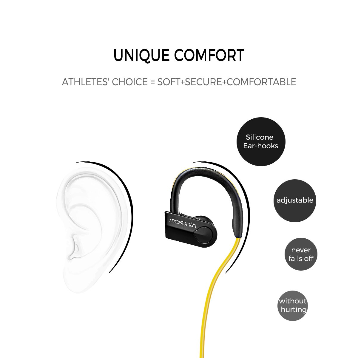 Mosonth K98 Bluetooth Headphones Wireless Sports Earphones with Mic In-ear Noise Cancelling Soft Ear Hooks HD Stereo Waterproof for Gym&Running (Yellow-Black)