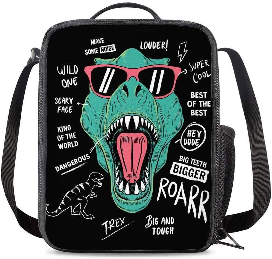 PrelerDIY Hipster Sunglasses Dinosaur Lunch Bag Tote Lunch Box Food Bag for Boys Girls with Side Pocket & Shoulder Strap