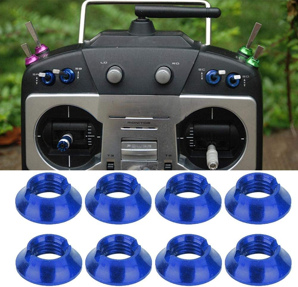 RC Rocker Nut Transmitter Gear Switch Aluminum Nuts Kit Fits for FUTABA Remote Controller Blue