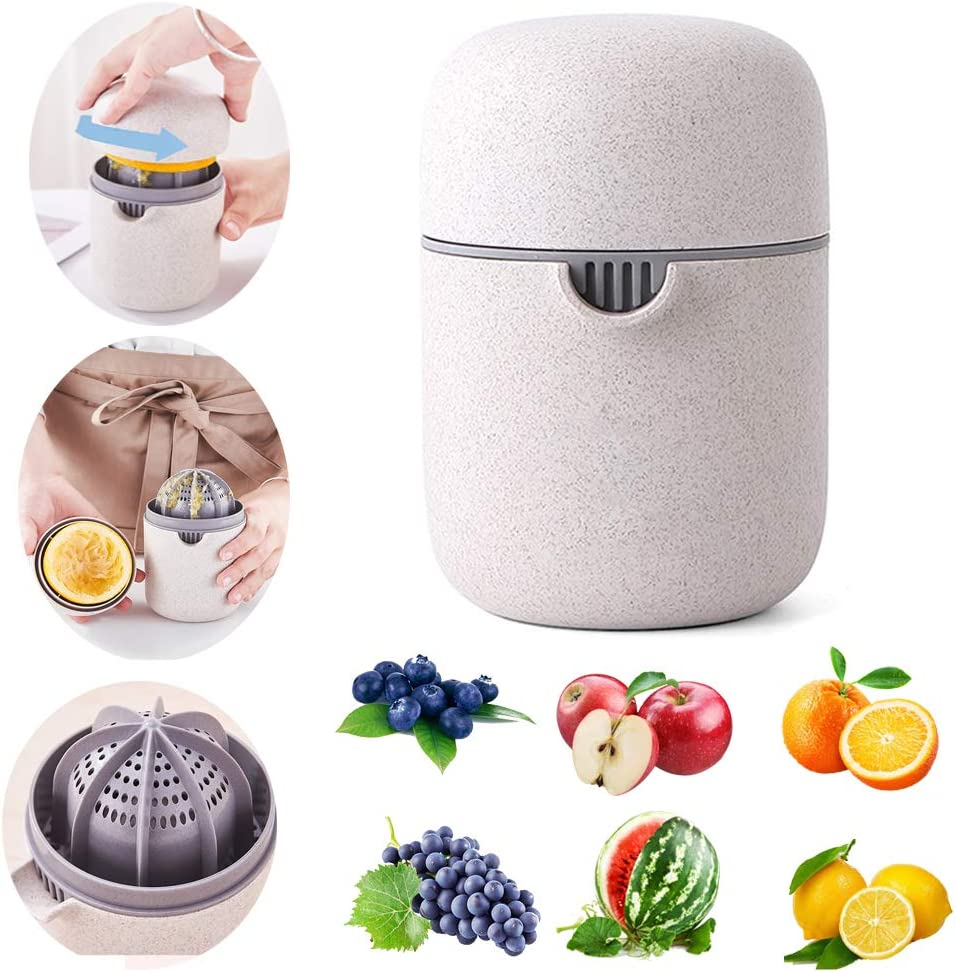 EMADOP Citrus Juicer, Hand Juicer Citrus Squeezer,Orange Juice Squeezer, Citrus Lemon Orange Manual Hand Juicer Lid Rotation Press Anti-Slip Reamer with Strainer and Container,Wheat Color