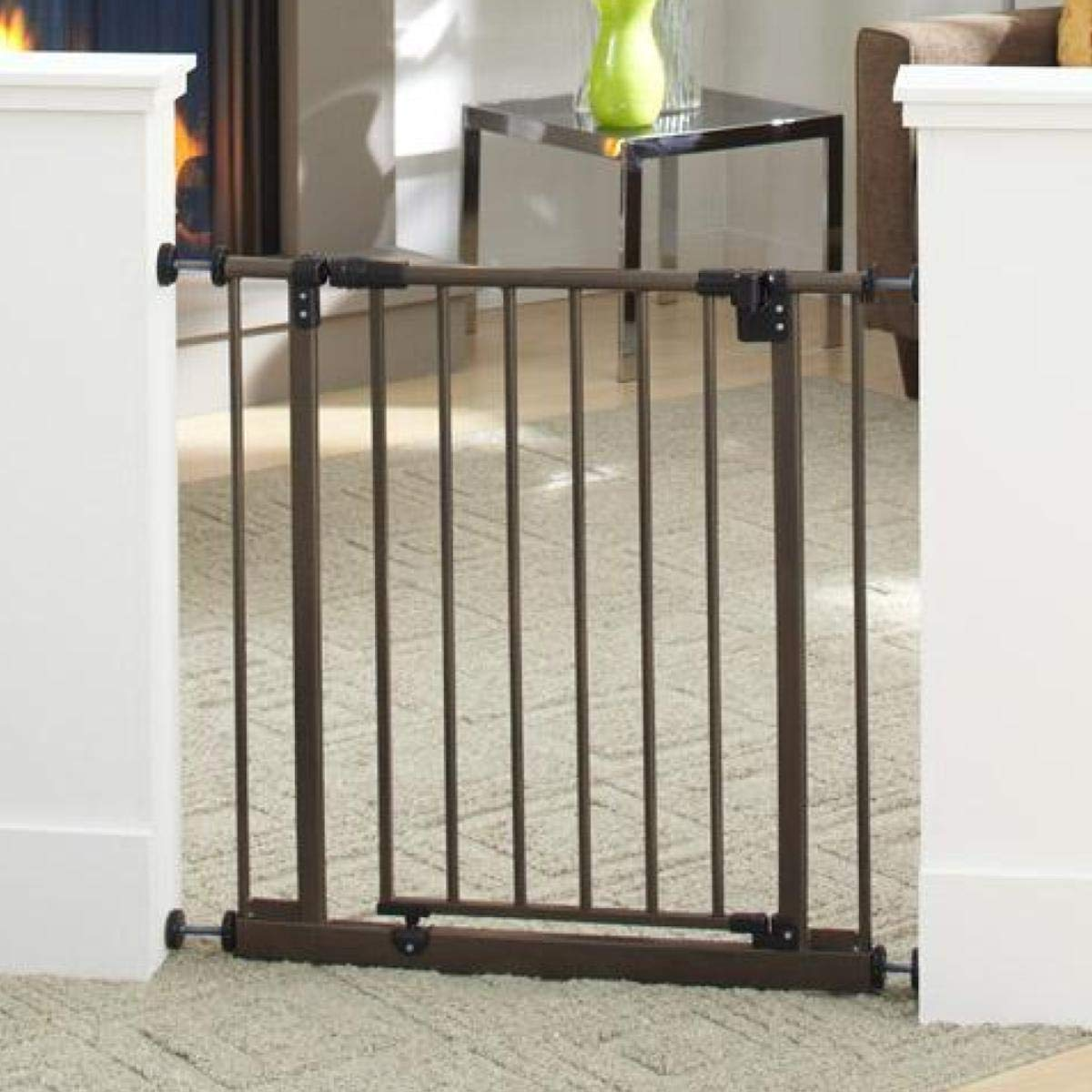 North States 38.5 Wide Easy-Close Baby Gate The Multi-Directional Swing gate with Triple Locking System – Ideal for doorways or Between Rooms. Pressure Mount. Fits 28 -38.5 Wide 29 Tall, Bronze