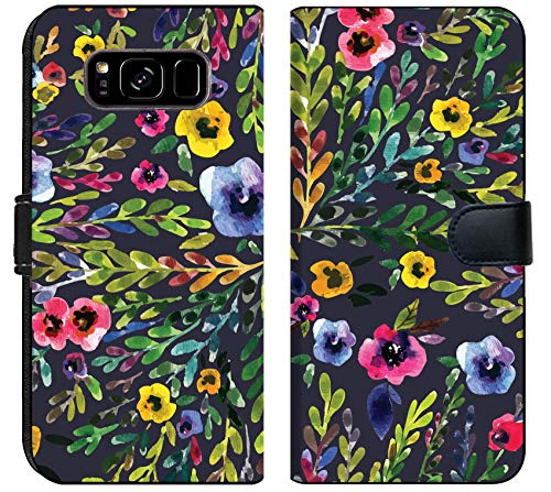 Luxlady Samsung Galaxy S8 Plus Flip Fabric Wallet Case ID: 43000615 Watercolor Seamless Pattern with Pansies Background for Web Pages Wedding invi -