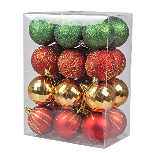 ki store christmas balls ornament shatterproof classic christmas tree ball onarments 24 pcs with red gold and green decorations for xmas trees parties - Red And Gold Christmas Decorations